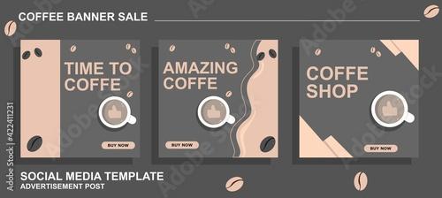 Billede på lærred A set of Banners with coffee concept design for marketing and social media ads P