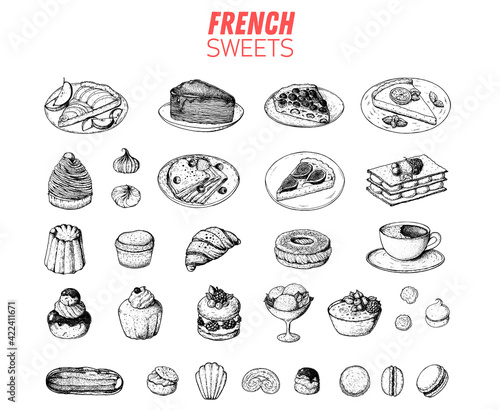 Fototapeta French desserts set with rum baba, palmier, chocolate religieuse, macaron, canele, mont blanc, profiterole creme brulee French cuisine. Food menu design template. Hand drawn sketch vector illustration obraz