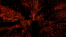 Futuristic, Orange Digital Grid Background. Network Tech Wallpaper. 3D Render