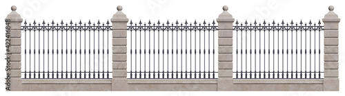 Fotografie, Obraz Classic iron fence with stone pillars