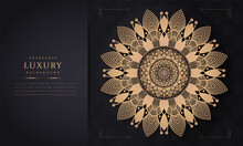 Luxury Ornamental Mandala Design Background In Gold Color Set Of Vector Design Templates. Business Card With Floral Circle Ornament.