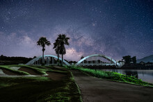 The Garden At Night With Stars And The Milky Way In The Sky Is So Beautiful.
