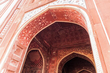 Detail Of The Great Gate At Taj Mahal Complex In Agra, India