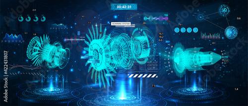 Fotografija Holograms with 3D turbines and HUD interface