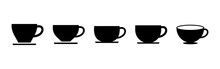Coffee Cup Icon Set. Cup A Coffee Icon Vector.