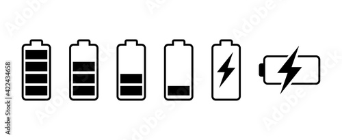 Obraz Battery icon set. battery charge level. battery Charging icon - fototapety do salonu