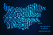 Abstract Image Bulgaria Map From Point Blue And Glowing Stars On A Dark Background. Vector Illustration.