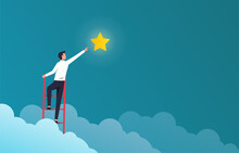 Successful Businessman On Ladder To Reach Star Vector Illustration. Success In Business And Career Symbol.