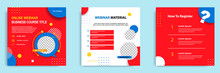 Set Bundle Collection Of Social Media Post Template. Layout For Online Live Webinar, Conference, Training, Seminar, Course, And Learning Video. Minimal Modern And Simple Style.
