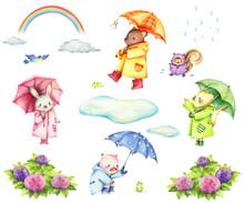 雨の素材と傘をさした動物たちのセット 手描き色鉛筆