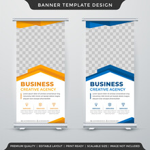 Stand Banner Template Design With Modern Style And Concept Use For Product Display And Promotion Ads