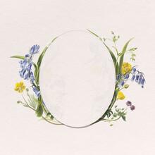 Floral Frame Botanical Oval Badge