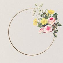 Beautiful Roses Golden Frame Pink Flower Vintage Illustration