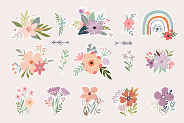 Floral stickers collection with decorative flowers arrangement and rainbow, boho design