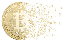 Bitcoin Crypto Currency Paying Online Pay Digital Money Cryptocurrency Business Finances Isolated On White