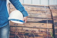Woman Construction Engineer Wear Safety White Hard Hat At Construction Site Industry Worker. Female Engineer Worker Civil Engineering With Hard Hat Safety Helmet. Woman Construction Engineer Concept