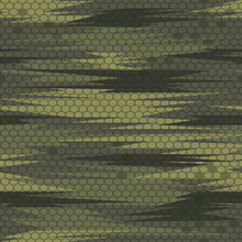 Camouflage Seamless Pattern From Green Lines. Military Texture. Print On Fabric On Textiles. Vector Graphics