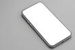 Leinwandbild Motiv Modern smartphone with white screen on gray background