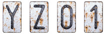 3D Render Set Of Capital Letters Y, Z And Number 0, 1 Made Of Forged Metal On The Background Fragment Of A Metal Surface With Cracked Rust.