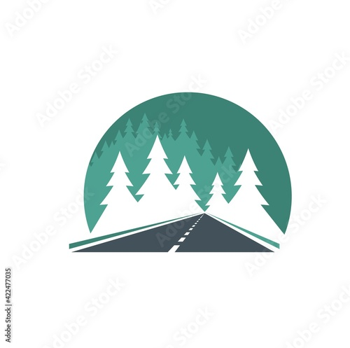Road icon, highway in green forest, way or traffic route, vector. Road in forest sign for transport pathway drive and street journey, travel, tourism and highway construction symbol