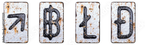 Canvas-taulu Set of symbols up arrow, baht, litecoin, dashcoin made of forged metal on the background fragment of a metal surface with cracked rust