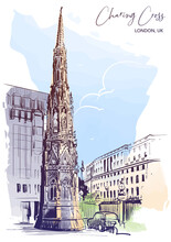 Queen Eleanor Memorial Cross At The Charing Cross Station In London. City Sketch Painted With Watercolor. A4 Vertical Format. EPS10 Vector Illustration