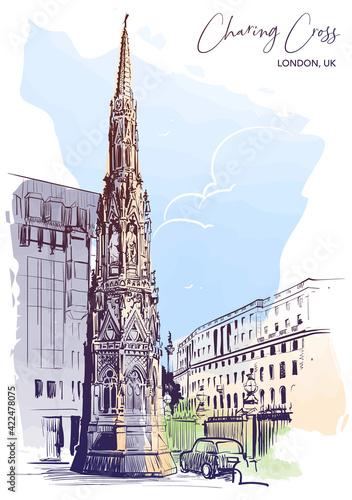 Fotografie, Obraz Queen Eleanor Memorial Cross at the Charing Cross Station in London