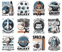 Galaxy Exploration Vector Icons. Astronaut, Rocket In Outer Space, Cosmos Explore Shuttles Expedition, Research Or Adventure. Satellite In Space, Alien Planet Colonization Mission, Space Labels Set