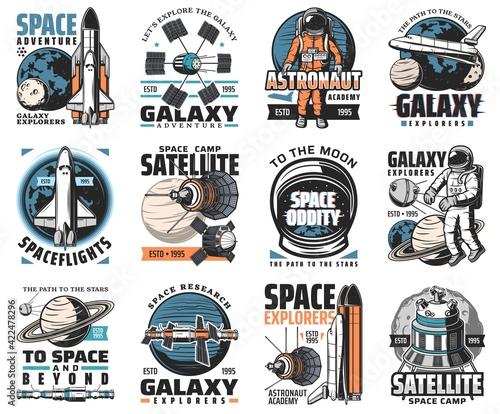 Fotografia, Obraz Galaxy exploration vector icons