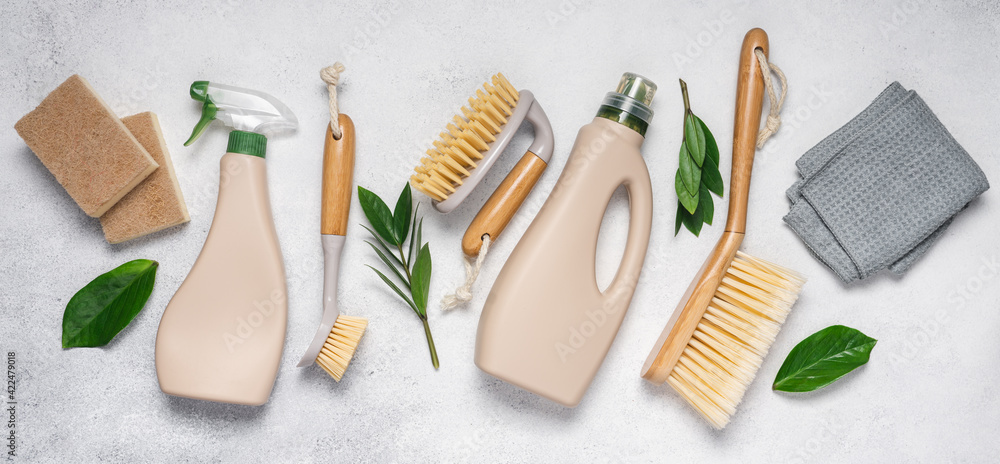 Fototapeta Eco brushes, sponges and rag on white background. Flat lay eco cleaning products. Cleaner concept