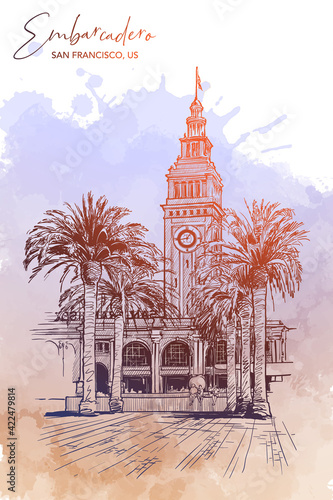 Panorama of the Embarcadero Ferry building in San Francisco and palm tree alley Fototapeta