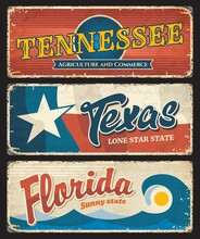 USA Texas, Florida And American State Tennessee States Plates, Vector Grunge Signs. US American State And City Entry Welcome Motto, Emblem Flag And City Taglines On Rusty Metal Plates