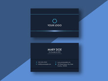 Front And Back View Of Business Or Visiting Card On Blue Background.