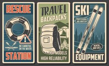 Tourist Equipment, Hiking Camp And Skiing Gear Vector Banners Of Travel And Outdoor Adventure. Camping Tent, Hiking Backpack And Campfire, Skis, Rescue Station Boat And Lifebuoy, Forest And Mountain