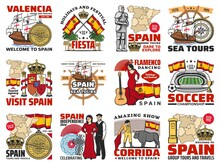 Spain Travel Agency Tours, Spanish Culture And History Emblems. Columbus Ship, Astrolabe And Compass, Spain National Flag And Coat Of Arms, Knight, Royal Crown, Flamenco Dancer, Soccer Stadium Vector