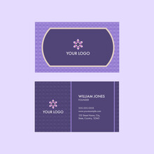 Editable Business Card Template Design With Criss Cross Pattern In Purple Color.