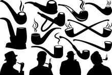 Tobacco Smoke Pipe SVG Cut Files | Man Smoking Silhouette | Cigar Pipes Svg | Tobacco Bundle | Smoke Svg