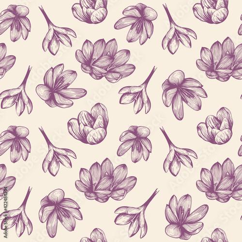 Obraz na plátně Saffron seamless pattern sketch