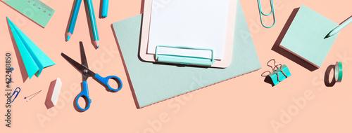 Obraz Back to school. Creative Flat lay desk in pink colour. Banner.  - fototapety do salonu