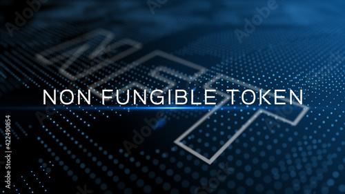 Fototapeta NFT - non fungible token 3D text on blue futuristic background obraz