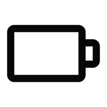 Bold Battery Icon On White Background