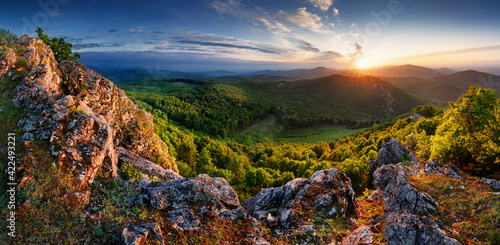 Slovakia - Vysoka hill, dramatic sunrise mountain nature panorama with rocks and forest