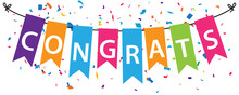 Congratulations Banner With Colorful Bunting Flags