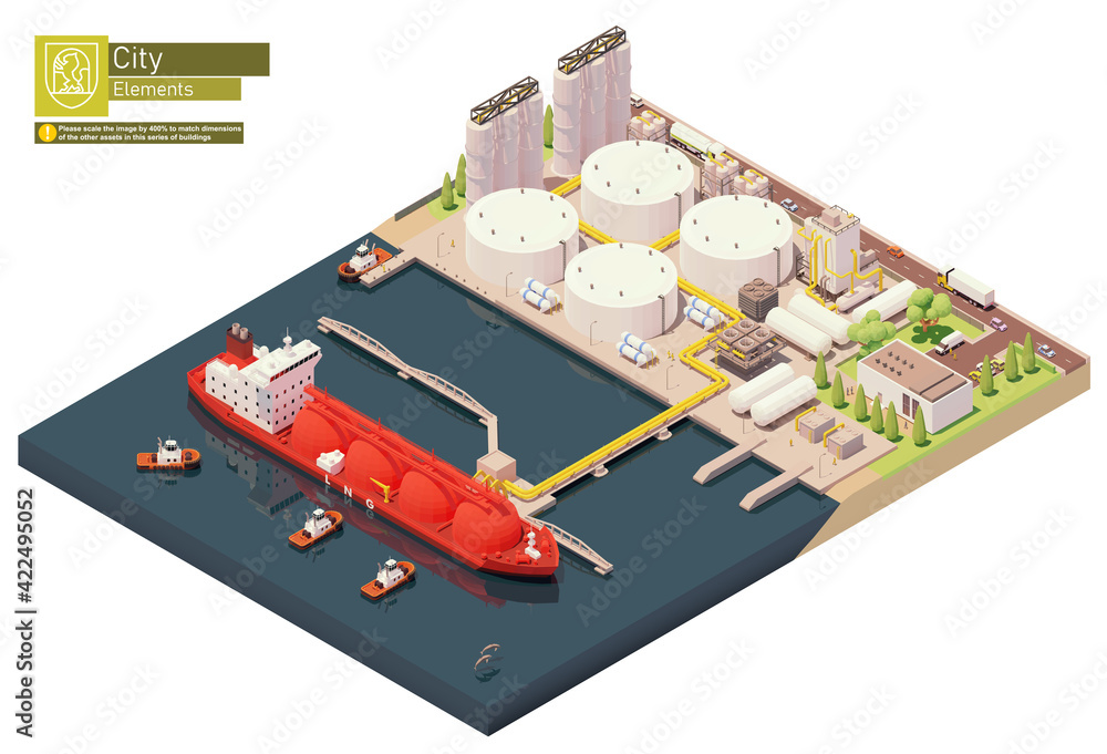 Fototapeta Vector isometric LNG carrier ship bunkering in LNG terminal. Tanker loading Liquefied Natural Gas at trading terminal. Vessel bunkering at gas storage