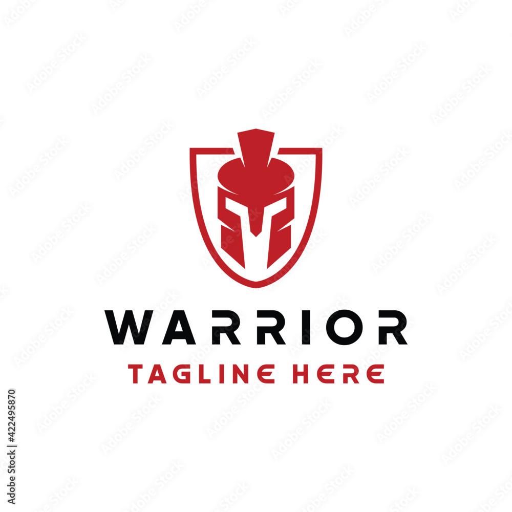 Fotografie, Obraz warrior helmet logo design vector with silhouette and modern style for armor com