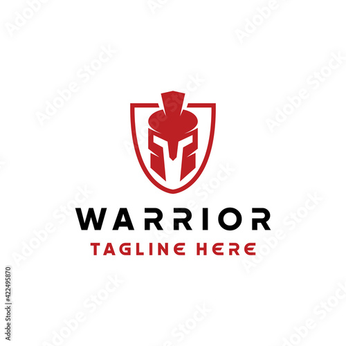 Fototapeta warrior helmet logo design vector with silhouette and modern style for armor com
