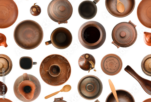 Seamless pattern of old pottery isolated on white Fotobehang
