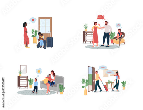 Fototapety, obrazy: Family conflict flat color vector detailed character set