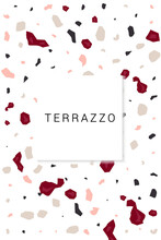 Brown And Beige Terrazzo Tile Vector White