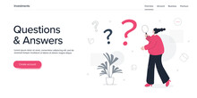 Questions And Answers Concept With Young Woman Searching Through Magnifying Glass. Q And A Metaphor In Flat Vector Illustration. Web Banner Layout Template.
